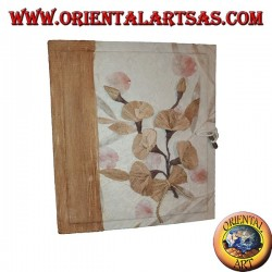 Photo album in rice paper and bark with floral pattern, 27 cm