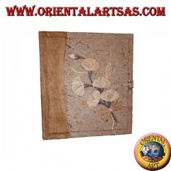 Album photo en écorce d'arbre avec motif floral, 27 cm
