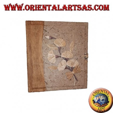 Photo album in tree bark with floral pattern, 27 cm