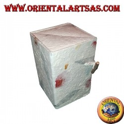 Jewelry box in rice paper with three parallelepiped drawers, 13 cm