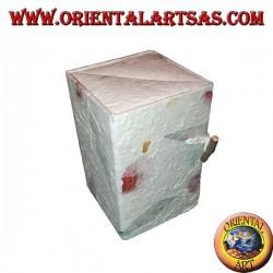 Scatola portagioie in carta di riso con tre cassetti a parallelepipedo, 13 cm