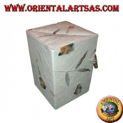 Jewelry box in rice paper with three parallelepiped drawers, 15 cm