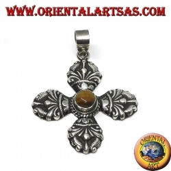 Ciondolo in argento (925 ‰) Vajra Dorje Tibetano con occhio di tigre al centro