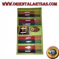 Satz von 8 natürlichen Räucherstäbchen (5 Stück) + 6 Räucherkerzen + brennende Essenzen (grün)