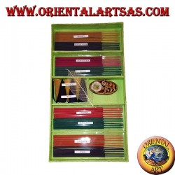 Set of 8 natural incenses (5 pcs) + 6 incense cones + burning essences (green)