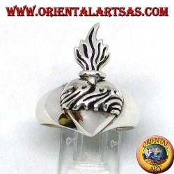 Anillo de plata del sagrado corazon.
