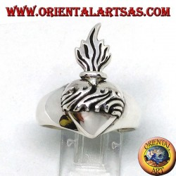 Silver ring of the sacred heart