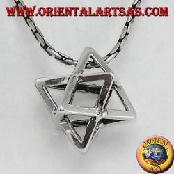Silver pendant of Merkaba Mer-Ka-Ba, symbol of protection