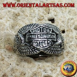 Silver ring with the Harley Davidson logo among the eagles
