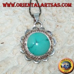 Pendant in silver lotus flower with central in natural Tibetan round Turquoise