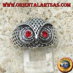 Bague en argent tête de hibou aux yeux rouges