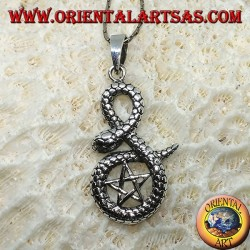 Silver pendant, pentacle wrapped in cobra