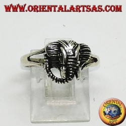 Silver ring with elephant head pachyderm