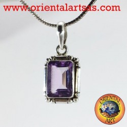 Silver pendant with a natural rectangular amethyst