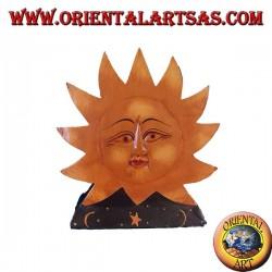 Porte-courrier ou porte-serviette en bois peint à la main de couleur soleil et lune