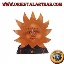 Wooden hand painted sun and moon mail holder or napkin holder