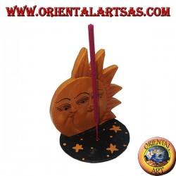 Encens brûlant de soleil et de lune en pin peint à la main