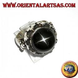 Anillo de plata, alto estilo imperial con conjunto Black Star.