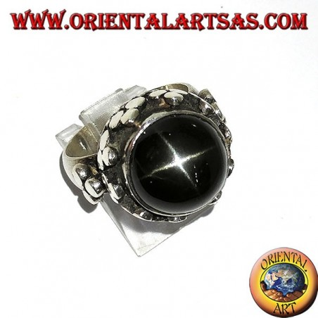 Silver ring, high imperial style with Black Star set