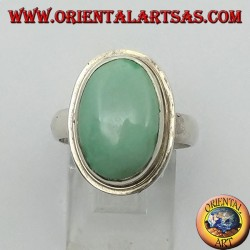 Simple silver ring with natural oval turquoise