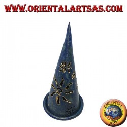Burn incense cone, blue perforated wrought iron candle holder, 13 cm