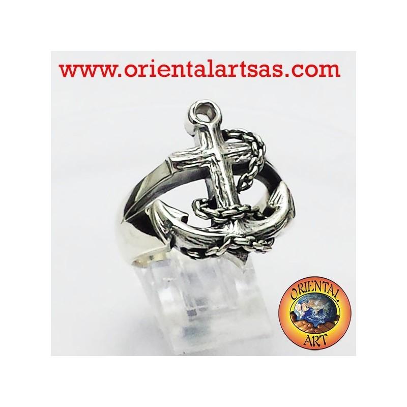 anello ancora in argento