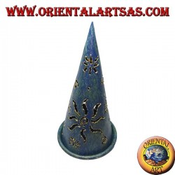 Burn incense cone, blue perforated wrought iron candle holder, 16 cm