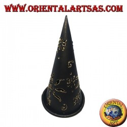 Burn incense cone, black perforated wrought iron candle holder, 16 cm