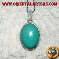 Ciondolo in argento con Turchese Tibetano naturale (grande)