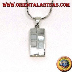 Pendant in rectangular silver with eight alternating mother of pearl squares