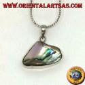 Ciondolo in argento liscio con paua shell naturale (abalone)