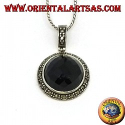 Silver pendant with faceted round onyx and marcasite on the edge