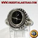 Anello in argento con Black Star ovale incastonata