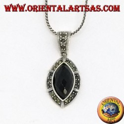 Silver pendant with faceted oval pointed onyx and marcasite on the edge