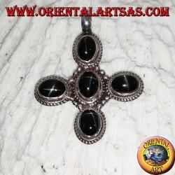 Pendentif en argent avec 5 étoiles noires de forme ovale (Diopside)