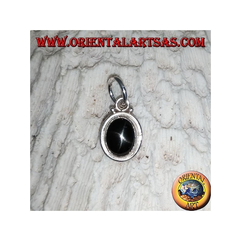 Ciondolo in argento con black star (Diopside) ovali e bordo liscio