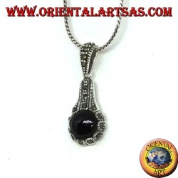 Silver pendant with round onyx and silver and marcasite decoration