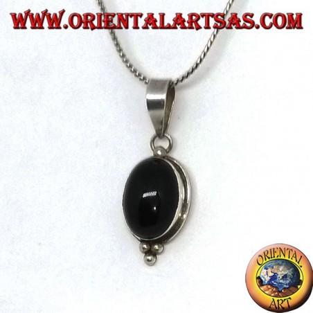 Ciondolo in argento con onice ovale e tre perle d'argento