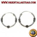Orecchino in argento, cerchio lavorato disco a righe tra serpentina, 20 mm