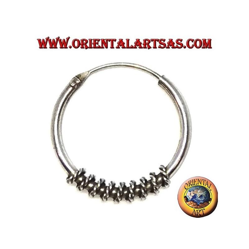 Orecchino in argento, cerchio lavorato intreccio attorcigliato, 20 mm
