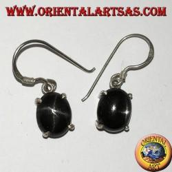 Серебряные серьги с овальной Чёрной звездой (звездный Диопсид), резная шкатулка