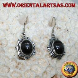 Boucles d'oreilles en argent avec étoile noire ovale Diopside étoilé, fait main