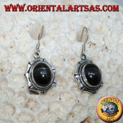 Silver earrings with oval black star Diopside starry, handmade