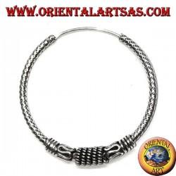 Orecchino in argento, cerchio lavorato a maglia con lavorazione mista, 30 mm