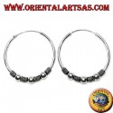 Silver earring, circle worked triple ball between intertwining, 30 mm