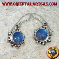 Серебряные серьги с круглым синим лабрадоритом