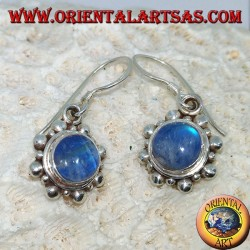 Silver earrings with round blue Labradorite