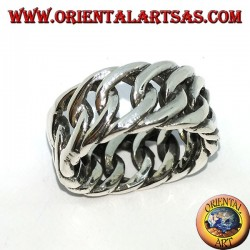 Silver ring with a large rigid chain