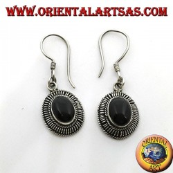 Handmade silver earrings with oval onyx