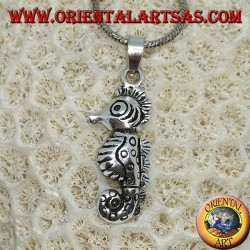 Pendant in silver hippocampus mobile seahorse